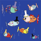 Cartoon fish pattern.  illustration Royalty Free Stock Images