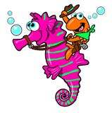 Cartoon fish riding seahorse  Royalty Free Stock Photography