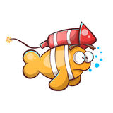 Cartoon fish with rocket. Vector eps 10 Stock Images