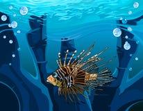 Cartoon fish - scorpion in the underwater reefs Royalty Free Stock Image