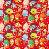 Cartoon fish seamless pattern. Drawing Royalty Free Stock Photography
