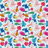 Cartoon fish seamless pattern Royalty Free Stock Image