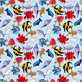 Cartoon fish seamless pattern Stock Images