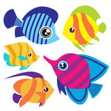 Cartoon fish set Stock Photography