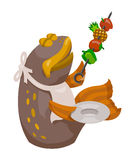 Cartoon Fish with Shish-Kabob Stock Photography