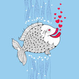 Cartoon fish with smiling lips and pink bubbles like heart on the blue background. Cartoon elements in contour style for Valentine day Stock Images