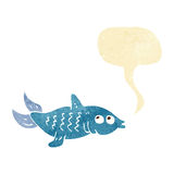 Cartoon fish with speech bubble Royalty Free Stock Photos