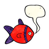 Cartoon fish with speech bubble Stock Photography