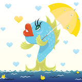 Cartoon fish with umbrella. Under the rain of hearts. Vector illustration of Valentine's Day Royalty Free Stock Image