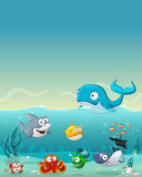 Cartoon fish under the sea Stock Photos