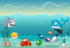 Cartoon fish under the sea. Underwater world with corals Royalty Free Stock Photography