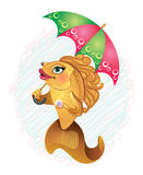 Cartoon fish under umbrella. Cartoon gold fish under a bright umbrella Stock Photos