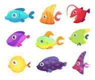 Cartoon fish. Underwater ocean sea animals for games vector pictures. Illustration of underwater fish for game, sea and aquarium life royalty free illustration