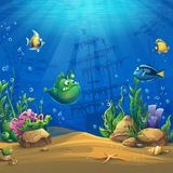 Cartoon fish in underwater world Royalty Free Stock Photography