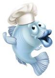 Cartoon fish wearing a chef hat. An illustration of cartoon character fish wearing a chef hat and waving Stock Photo