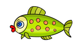 Cartoon fish on white-01. One bright fish with bubble.Isolated on a white background. Beautiful funny cartoon character.Cute vector illustration for children.A vector illustration