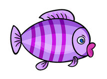 Cartoon fish on white1-01. One bright violet fish with stripes.Isolated on a white background. Beautiful funny cartoon character.Cute vector illustration for stock illustration