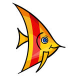 Cartoon fish on white3-01. One bright yellow fish with red stripe.Isolated on a white background.A marine animal with eye swims and smiles. Beautiful funny royalty free illustration