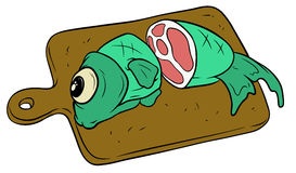 Cartoon fish on wooden cutting board Royalty Free Stock Photos