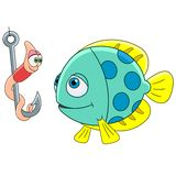 Cartoon fish and worm. On a fishing hook, isolated on white background. Childish vector illustration and colorful book page for kids Royalty Free Stock Photo