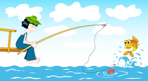Cartoon fisher. Stock Photos