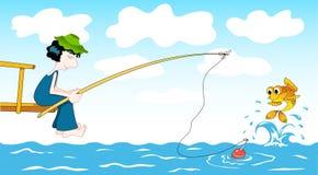 Cartoon fisher. Fisher and goldfish. Сartoon illustration Stock Photos
