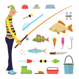 Cartoon fisherman and fishing icons Royalty Free Stock Photography