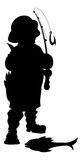 Fisherman Silhouette Vector Illustration. Cartoon Fisherman Silhouette with Fish Vector Illustration
