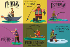 Cartoon fisherman standing in hat and pulls net on boat out of sea, happy fishman holds fish catch and spin vecor Stock Photography