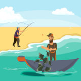 Cartoon fisherman standing in hat and pulls net on boat out of sea, happy fishman holds fish catch and spin vecor Royalty Free Stock Images