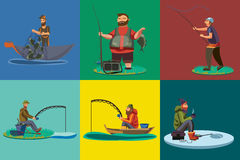 Cartoon fisherman standing in hat and pulls net on boat out of sea, happy fishman holds fish catch and spin vecor Stock Photo