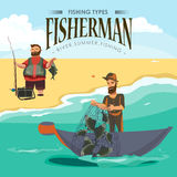 Cartoon fisherman standing in hat and pulls net on boat out of sea, happy fishman holds fish catch and spin vecor Stock Photos