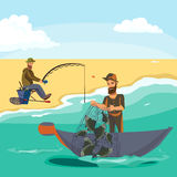 Cartoon fisherman standing in hat and pulls net on boat out of sea, happy fishman holds fish catch and spin vecor Royalty Free Stock Photos