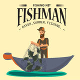 Cartoon fisherman standing in hat and pulls net on boat out of water, happy fishman holds fish illustration isolated. Icon. Vacation flat fisher catch concept Stock Image