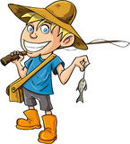 Cartoon fisherman with a tiny fish. Isolated Stock Image