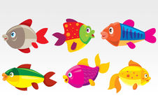 Cartoon fishes. Illustration of funny cartoon colored fishes Royalty Free Stock Photos
