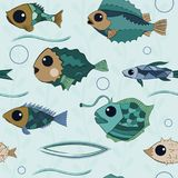 Cartoon fishes with big eyes and mosaic scales. With a hand drawn contour, seamless pattern background Stock Images