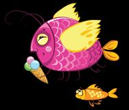 Cartoon fishes characters, icecream gourmand. Cartoon characters, icecream eating gourmand fish and hungry envy one Royalty Free Stock Photography