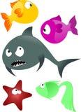 Cartoon fishes. 5 cartoon funny bright vector fishes Stock Photo