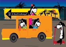 Cartoon Fishes Go Holiday_eps. Illustration of cartoon fishes go holiday Royalty Free Stock Photos