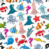 Cartoon fishes and ocean animals vector pattern Stock Images