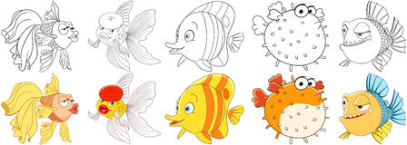 Cartoon fishes set. Cartoon animals set. Goldfish in beret making air kiss, amazed and surprised butterfly fish, sad puffer fish blowfish, sea porcupine, fugu Royalty Free Stock Images