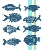 Cartoon fishes set Royalty Free Stock Photography