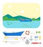 Cartoon Fishing Boat on Landscape and Gear Set. Vector Royalty Free Stock Images