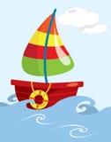 Cartoon fishing boat Stock Photos