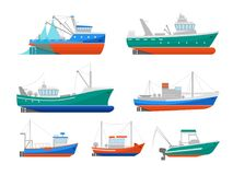 Cartoon Fishing Boats Icons Set. Vector. Cartoon Fishing Boats Icons Set Ship or Vessel Marine Transport Elements Concept Flat Design Style. Vector illustration Stock Photo