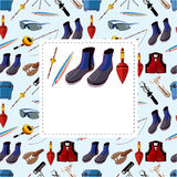 Cartoon fishing equipment tools seamless pattern Royalty Free Stock Images