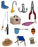 Cartoon Fishing icons set Stock Photos