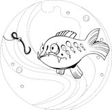 Cartoon fishing. The illustration shows a funny cartoon fish that looks at the worm as fishing bait. Illustration done on separate layers Stock Photo