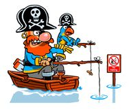 Cartoon fishing pirate. Cartoon caricature of pirate and parrot fishing in a boat near no fishing sign Stock Images